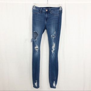 Hollister Distressed Jeggings, Size 25, Blue